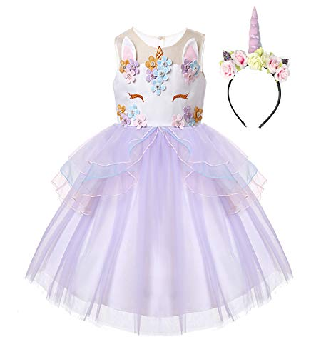 (R-Cloud Girls Flower Unicorn Costume Pageant Princess Halloween Dress Up Cosplay Birthday Party Dress (Purple,)