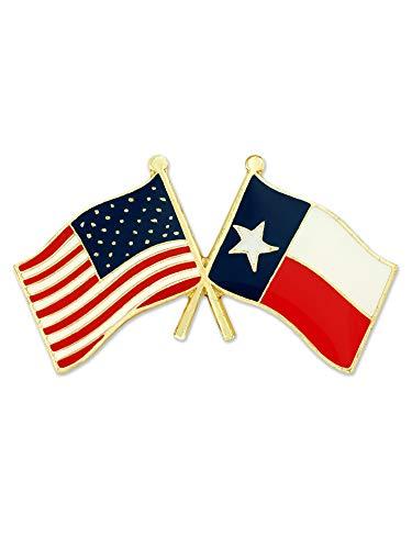 PinMart Texas and USA Crossed Friendship Flag Enamel Lapel Pin ()