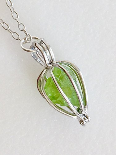Peridot Cage Necklace, Sterling Silver Cage, Genuine Peridot Nugget, Yellow Green Peridot, August Birthstone, Teardrop Cage.