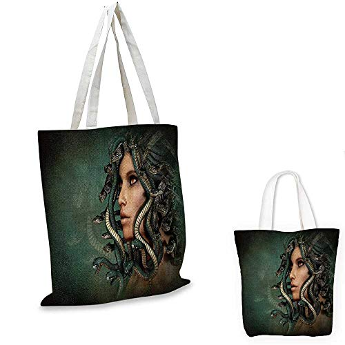 Mythological portable shopping bag Spiritual Woman with Snakes on Her Head Sacred Occult Style Zen Meditation shopping bag for women Green Tan. 15