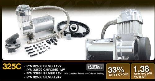 VIAIR 325C Silver Compressor 12V, CE, 33% Duty, Sealed, w/o Leader Hose, w/o Check Valve