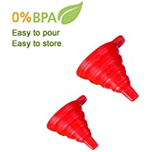 Silicone Collapsible Funnel 100% Food Grade Silicone - Set of 2, Large and Small (red)