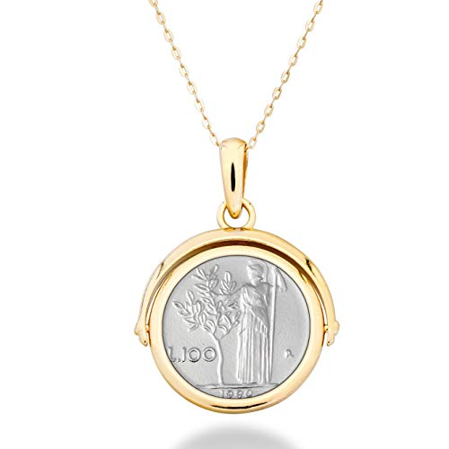 MiaBella 18K Gold Over Sterling Silver Italian Genuine 100 Lira Coin Flip Pendant with Adjustable Cable Bolo Chain Necklace 24 inch ()