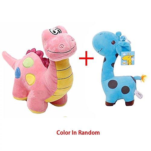 Cute Animal Plush Toy Stuffed Dinosaur&Giraffe Plush Dolls,Soft Plush Material Safe and Comfortable for Baby Kids Adults(2pcs)