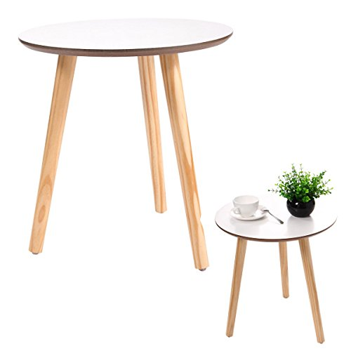 - New White Modern Round Coffee Table Simple Style End Table W/Pine Wood Legs