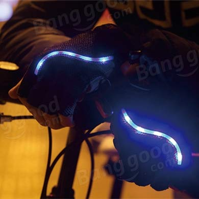Bicycle Bike Cycling Gloves LED Lighting Half Finger Gloves by Anddoa (Image #2)