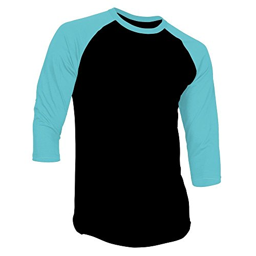 Sleeve Jersey 1 - Hat and Beyond Mens Raglan 3/4 Sleeves T Shirts Slim Fit Plain Baseball Jersey (Medium, 1RD3401 Black/Turquoise)