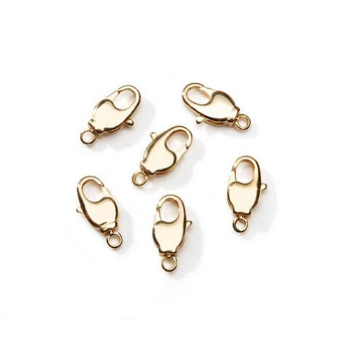 14MM Swivel Lobster Clasp (Gold, 4 pieces/bag) (Clasps Lobster 14 Mm)