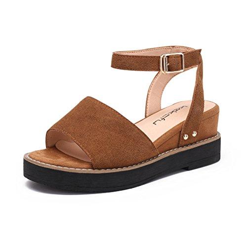 De La Plataforma De C De Hebilla Zapatos Zapatos Dermis Suela Gruesa Del Con Palabra Verano Mujer La Una OF6Hpp