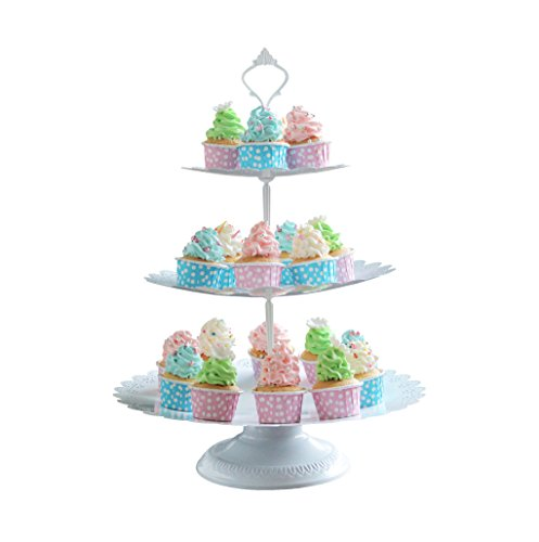 VILAVITA 3-tier Cupcake Stand Round Dessert Tower Iron Cupcake Holder Display Cake Stand for Wedding Birthday Party Celebration, White