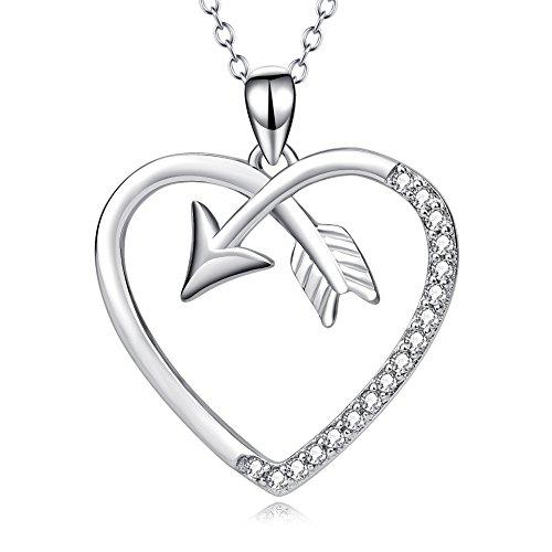 Angel caller Cupid's Love Arrow Women Heart Pendant Necklace 18