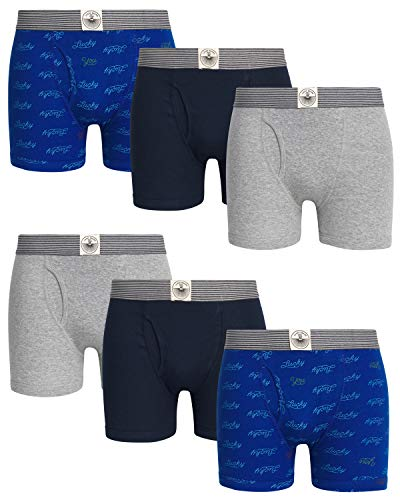 Boxer Brands Clothing - Lucky Brand Men\'s Cotton Boxer Briefs with Functional Fly (6 Pack) (Dress Blue/Heather Grey, X-Large)'