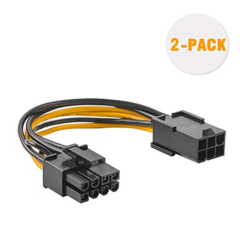 CableCreation 6 Pin to 8 Pin Pcie Adapter Cable, 2-Pack 6-pin to 8-pin PCIe Express Power Adapter Cable, 4 Inches / 10CM