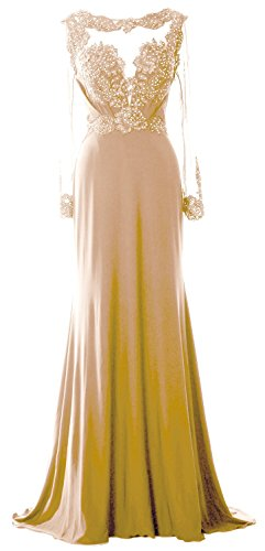 MACloth Women Long Sleeve Beaded Lace Mother of Brides Dress Formal Evening Gown Champagne