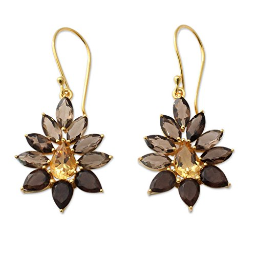 NOVICA Multi-Gem Smoky Quartz .925 18k Yellow Gold Plated Silver Dangle Earrings 'Twilight Aura'