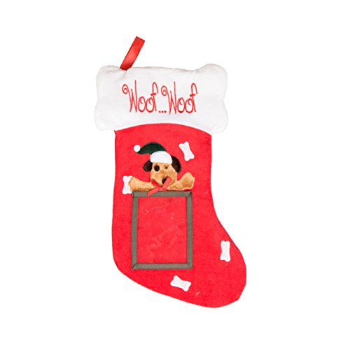 Puppy Dog Hanging Christmas Stocking | For Kids & Adults | 4''x5'' Picture Frame | Red & White Woof Woof Holiday Decor Theme | For Small Gifts, Stocking Stuffers, & Candy | 18.5'' Tall by Clever Creations