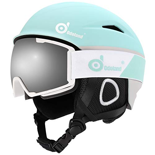 Odoland Ski Helmet, Snowboard Helmet with Ski Goggles, Shockproof, Windproof, Safety Snow Sports Helmet and Protective Glasses for Men Women and Youth