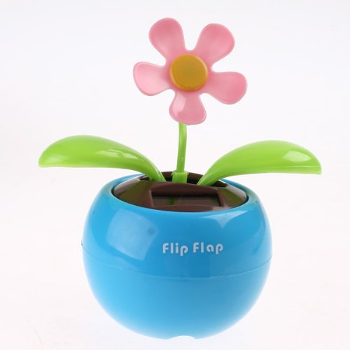Kingzer Solar Powered Dancing Flip Flap Flower Dancing Swing Blue Flowerpot Gift from KINGZER