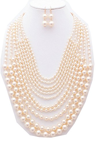 {CN0910 StyleNo1} WOMEN'S FASHIONABLE MULTI-SIZED PEARL STRAND NECKLACE AND EARRINGS SET – Designed In USA
