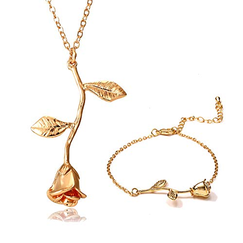 Vintage 3D Rose Necklace Flower Pendant Necklace Chain 18K Gold Lovers Birthday Friendship Jewelry Handmade Jewelry Necklace & Bracelet(Gold)