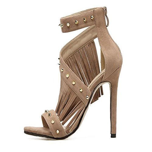 tacón mujer albaricoque GAOLIXIA de de Remache tacón con Negro Apricot Zapatos romanos alto para Sandalias verano ahuecadas de flecos Zapatos alto gUFSqwWI0