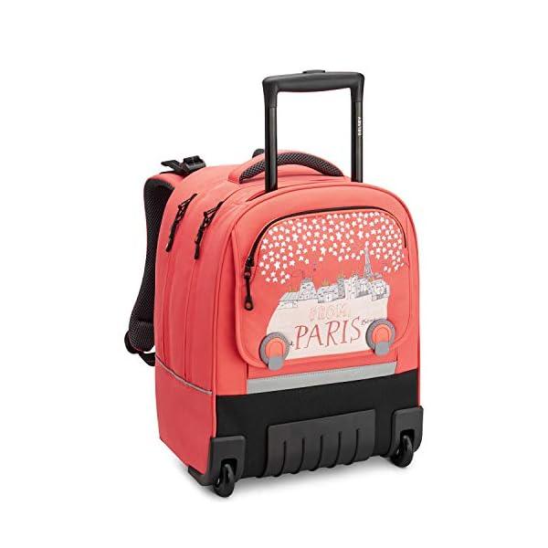 """Desey Paris – Pack to School 2020 – Zaino trolley Wheels con sistema verticale ergonomico, 15.6"""" – Corallo rosa 1 spesavip"""