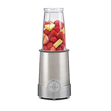 BELLA Personal Size Rocket Blender, 12 piece set, color stainless steel and chrome