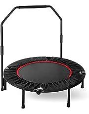 Fitness trampoline fitnesstrampoline met beugel opvouwbaar, Ø 101,6 cm, 3-voudig in hoogte verstelbare handgreep jumping trampoline incl. randafdekking en opbergtas, gebruikersgewicht tot 150 kg, voor binnen en buiten