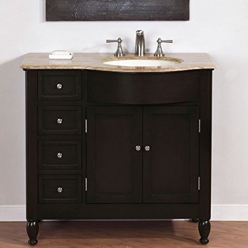 Silkroad Exclusive HYP-0902-T-UIC-38-R Single Right Sink Bathroom Vanity with Bath Furniture Cabinet, 38