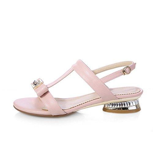 AgooLar Women's Soft Material Buckle Open Toe Low-heels Solid Sandals Pink gNMdx
