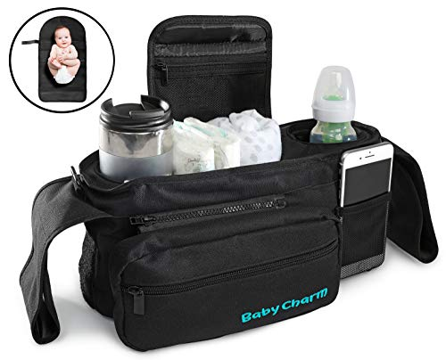 Premium Stroller Organizer Bag with Insulated Cup Holders, Extra-Large Stroller Storage, Changing Pad and Shoulder Strap   Universal Fit   Baby Stroller Accessories Caddy and Baby Shower Gift