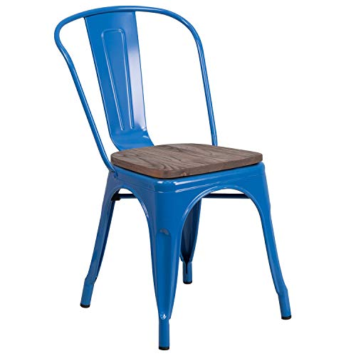 MFO Blue Metal Stackable Chair with Wood - Stacking Wood Contemporary Chair