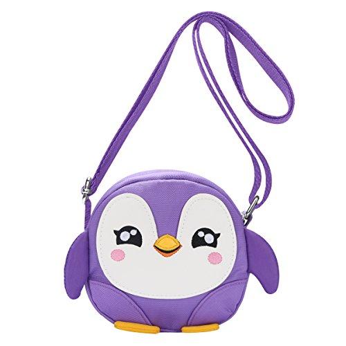 (Kids Shoulder Bag Crossbody Purse Mini Cartoon Animal Preschool Messenger Handbag for Children Toddler Baby Girls Leekey (Penguin Purple))