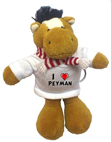 Horse Plush Keychain with I Love Peyman (first name/surname/nickname)