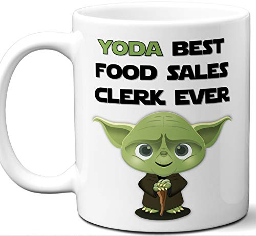Funny Gift For Food Sales Clerk. Yoda Best Employee Ever. Cute, Star Wars Themed Unique Coffee Mug, Tea Cup Idea for Men, Women, Birthday, Christmas, Coworker. ()