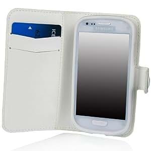 E LV Samsung Galaxy S3 Mini Deluxe de alta calidad de la PU cuero de la carpeta del tir?n de la cubierta del caso para S3 Mini i8190 - Blanco Color: Blanco, Modelo: