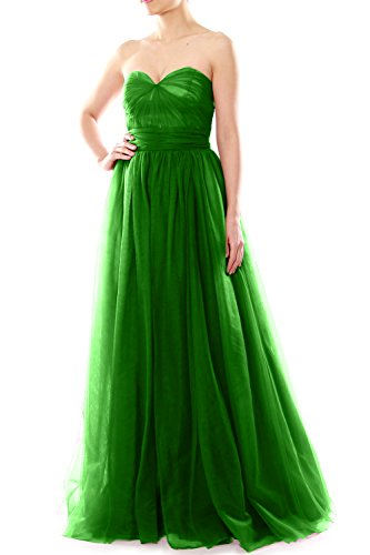 MACloth Women Long Sweetheart Convertible Tulle Wedding Party Bridesmaid Dress Verde