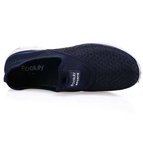 Pooluly Hombres Ligero Ligero De Secado Rápido Malla De Agua Aqua Slip-on Zapatos De Agua Azul Marino