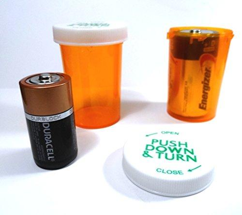 Plastic Prescription Vials/Bottles 100 Pack w/Caps Large 20 Dram Size-NEW