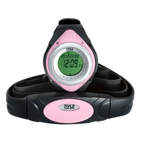Pyle Fitness Tracker Watch with Heart Rate Monitor, Healthy Wristband Sports Pedometer Activity Tracker Steps Counter Stop Watch Alarm Water Resistant - with Calorie Counter and Target Zones (Pink) by Pyle