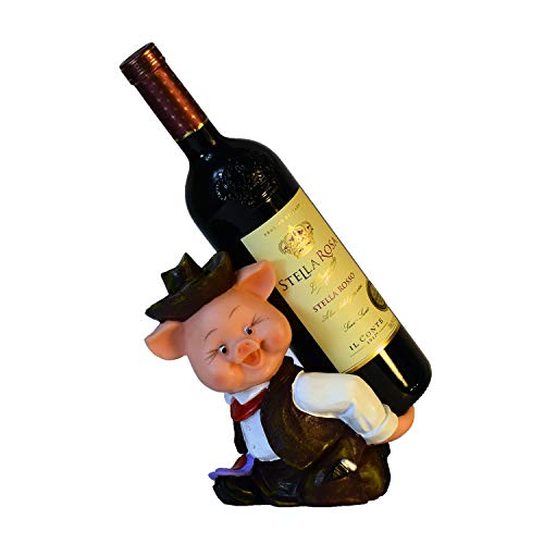 VadiDra Wine Bottle Holder Pig in Brown Hand-Painted Resin Statue Figurine Bar Home Kitchen Decor Excellent Gift