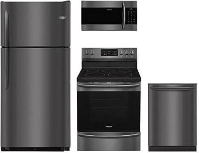 "Frigidaire 4-Piece Black Stainless Stee Set,FGTR1842TD 30"" Top Freezer Refrigerator, FGEF3036TD 24"" Electric Range , FGMV176NTD 30"" Over The Range Microwave,FGID2466QD 24"" Fully Integrated Dishwasher"