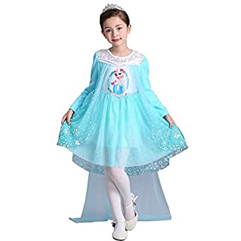 e-super Snow Queen Elsa Princess Dress for Fall and Winter Girls' Long Sleeve Lace Tulle Flower Party Dress Costume with Mesh Skirt Smock (110, Blue-L)
