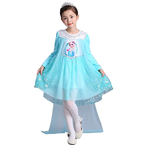 e-super Snow Queen Elsa Princess Dress Fall Winter Girls' Long Sleeve Lace Tulle Flower Party Dress Costume Mesh Skirt Smock (120, Blue-L) -