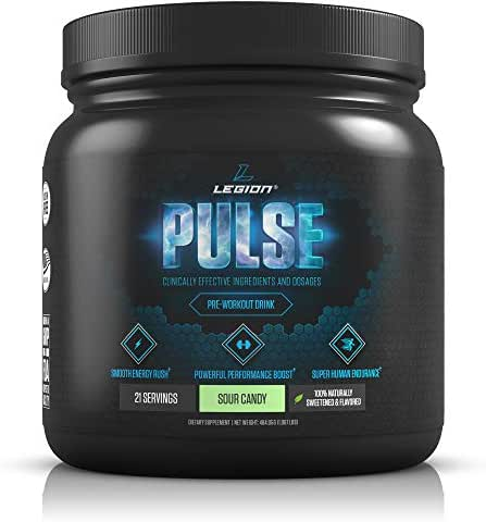 Legion Pulse, Best Natural Pre Workout Supplement for Women and Men – Powerful Nitric Oxide Pre Workout, Effective Pre Workout for Weight Loss, (Sour Candy)