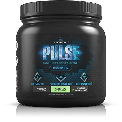 Legion Pulse, Best Natural Pre Workout Supplement for Women and Men - Powerful Nitric Oxide Pre Workout, Effective Pre Workout for Weight Loss, (Sour Candy)