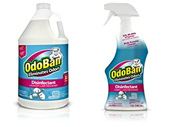 OdoBan Ready-to-Use 32 oz Spray Bottle and 1 Gal Concentrate, Cotton Breeze Scent - Odor Eliminator, Disinfectant, Flood Fire Water Damage Restoration