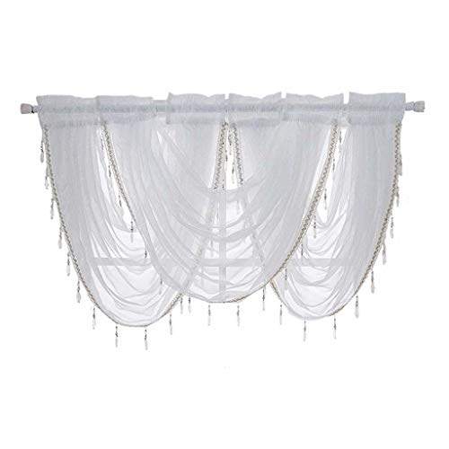 certainPL Sheer Rod Pocket Window Valance Curtain Panel with Tassel for Kitchen, Living Room, Polyester, 37
