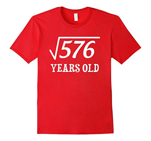 Mens Square Root of 576 for 24 Years Old Shirt Gift for Men Women Large Red