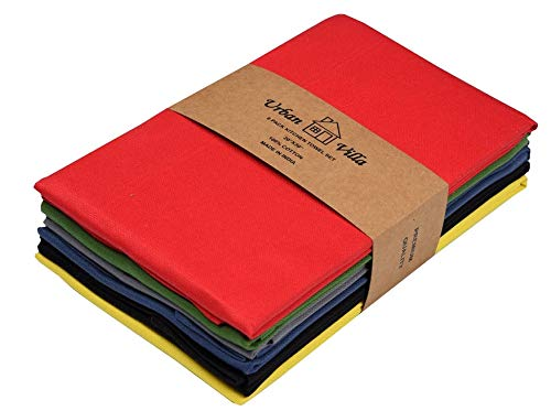 Urban Villa Kitchen Towels, Premium Quality, Solid Satin Weave Ultra Soft 100% Cotton Dish Towels, (Size: 20X30 Inch), Multi-Color Highly Absorbent Bar Towels & Tea Towels - (Set of 6) ()